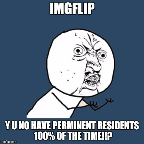Y U No Meme | IMGFLIP Y U NO HAVE PERMINENT RESIDENTS 100% OF THE TIME!!? | image tagged in memes,y u no | made w/ Imgflip meme maker