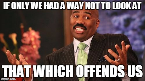 Steve Harvey Meme | IF ONLY WE HAD A WAY NOT TO LOOK AT THAT WHICH OFFENDS US | image tagged in memes,steve harvey | made w/ Imgflip meme maker