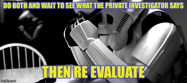 Cry | DO BOTH AND WAIT TO SEE WHAT THE PRIVATE INVESTIGATOR SAYS THEN RE EVALUATE | image tagged in cry | made w/ Imgflip meme maker