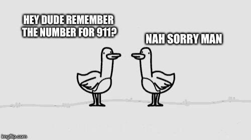 HEY DUDE REMEMBER THE NUMBER FOR 911? NAH SORRY MAN | image tagged in asdf movie | made w/ Imgflip meme maker