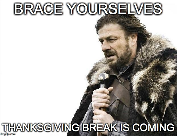 Brace Yourselves X is Coming Meme | BRACE YOURSELVES THANKSGIVING BREAK IS COMING | image tagged in memes,brace yourselves x is coming | made w/ Imgflip meme maker