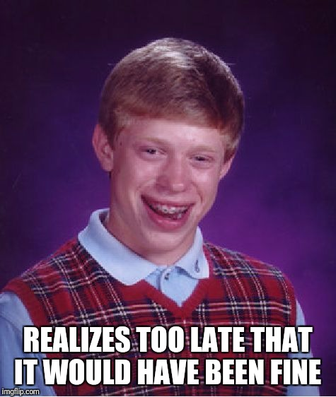 Bad Luck Brian Meme | REALIZES TOO LATE THAT IT WOULD HAVE BEEN FINE | image tagged in memes,bad luck brian | made w/ Imgflip meme maker