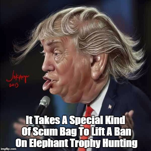 It Takes A Special Kind Of Scum Bag To Lift A Ban On Elephant Trophy Hunting | made w/ Imgflip meme maker