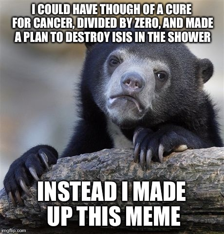 Confession Bear Meme | I COULD HAVE THOUGH OF A CURE FOR CANCER, DIVIDED BY ZERO, AND MADE A PLAN TO DESTROY ISIS IN THE SHOWER INSTEAD I MADE UP THIS MEME | image tagged in memes,confession bear | made w/ Imgflip meme maker