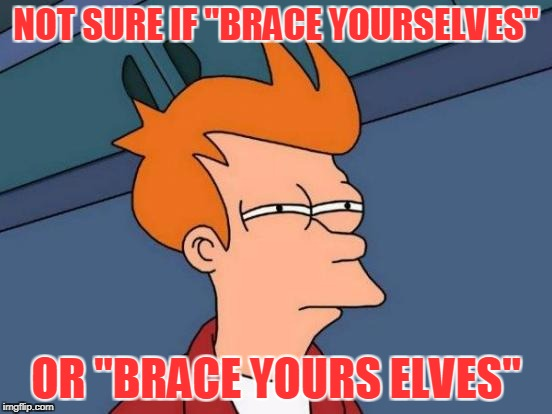 "Futurama Fry Meme | NOT SURE IF ""BRACE YOURSELVES"" OR ""BRACE YOURS ELVES"" 