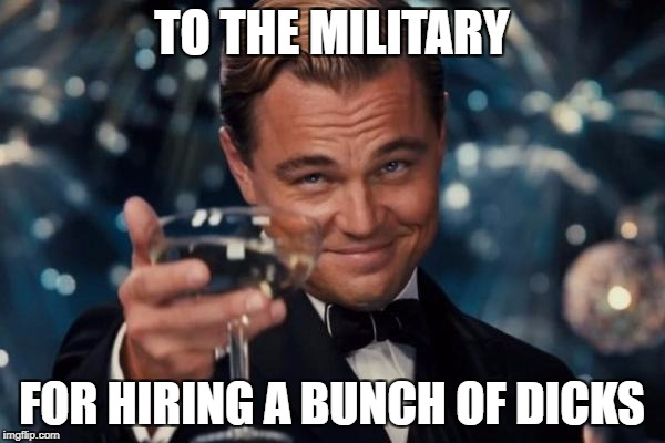 Leonardo Dicaprio Cheers Meme | TO THE MILITARY FOR HIRING A BUNCH OF DICKS | image tagged in memes,leonardo dicaprio cheers | made w/ Imgflip meme maker