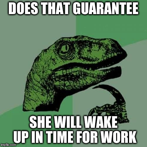 Philosoraptor Meme | DOES THAT GUARANTEE SHE WILL WAKE UP IN TIME FOR WORK | image tagged in memes,philosoraptor | made w/ Imgflip meme maker