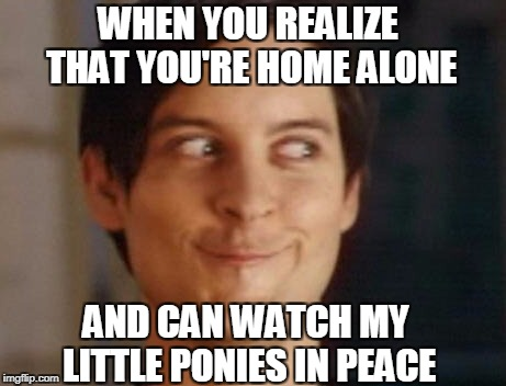 Spiderman Peter Parker Meme | WHEN YOU REALIZE THAT YOU'RE HOME ALONE AND CAN WATCH MY LITTLE PONIES IN PEACE | image tagged in memes,spiderman peter parker | made w/ Imgflip meme maker