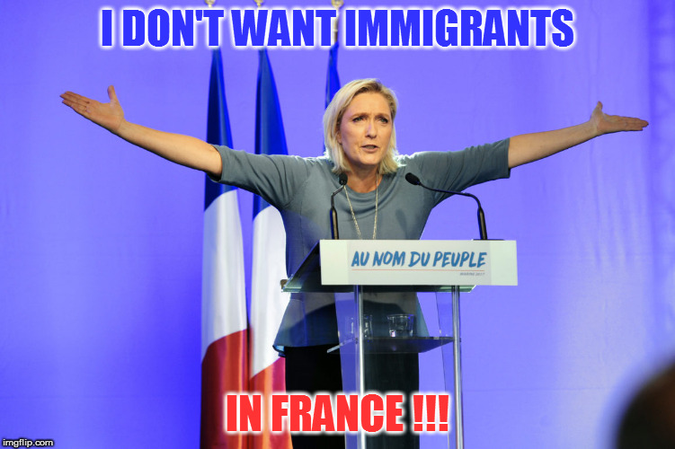 I DON'T WANT IMMIGRANTS IN FRANCE !!! | image tagged in marine le pen | made w/ Imgflip meme maker