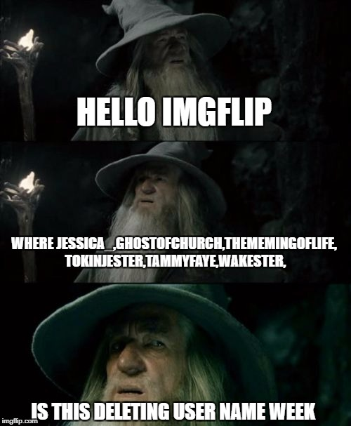 Confused Gandalf Meme | HELLO IMGFLIP WHERE JESSICA_,GHOSTOFCHURCH,THEMEMINGOFLIFE, TOKINJESTER,TAMMYFAYE,WAKESTER, IS THIS DELETING USER NAME WEEK | image tagged in memes,confused gandalf,ssby,sad,deleted accounts | made w/ Imgflip meme maker