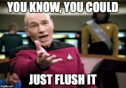 Picard Wtf Meme | YOU KNOW, YOU COULD JUST FLUSH IT | image tagged in memes,picard wtf | made w/ Imgflip meme maker