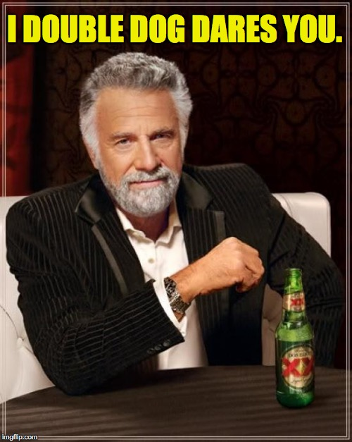 The Most Interesting Man In The World Meme | I DOUBLE DOG DARES YOU. | image tagged in memes,the most interesting man in the world | made w/ Imgflip meme maker