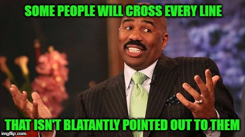 Steve Harvey Meme | SOME PEOPLE WILL CROSS EVERY LINE THAT ISN'T BLATANTLY POINTED OUT TO THEM | image tagged in memes,steve harvey | made w/ Imgflip meme maker