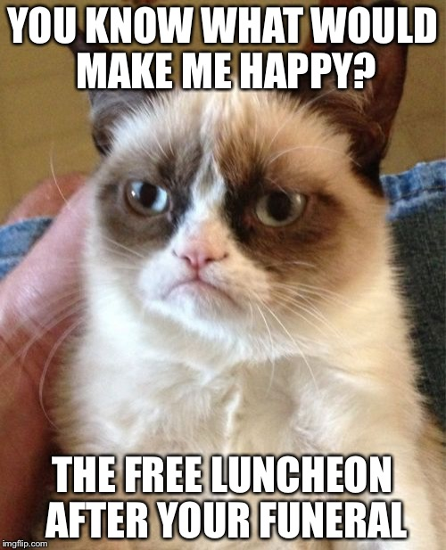 Grumpy Cat Meme | YOU KNOW WHAT WOULD MAKE ME HAPPY? THE FREE LUNCHEON AFTER YOUR FUNERAL | image tagged in memes,grumpy cat | made w/ Imgflip meme maker