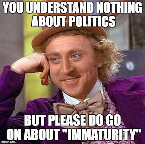 "Creepy Condescending Wonka Meme | YOU UNDERSTAND NOTHING ABOUT POLITICS BUT PLEASE DO GO ON ABOUT ""IMMATURITY"" 