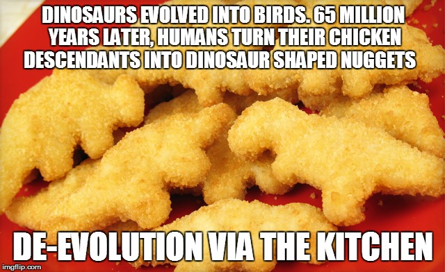 Dinosaur chicken nuggets  | DINOSAURS EVOLVED INTO BIRDS. 65 MILLION YEARS LATER, HUMANS TURN THEIR CHICKEN DESCENDANTS INTO DINOSAUR SHAPED NUGGETS DE-EVOLUTION VIA TH | image tagged in dinosaur chicken nuggets | made w/ Imgflip meme maker