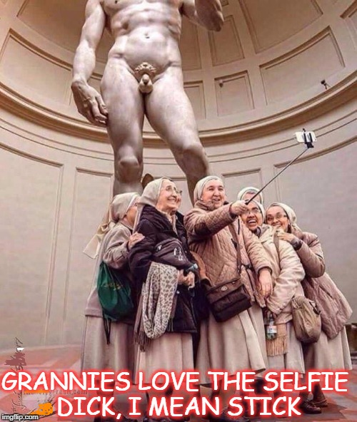 selfie dick | GRANNIES LOVE THE SELFIE DICK, I MEAN STICK | image tagged in nsfw weekend,dick,granny,selfie stick | made w/ Imgflip meme maker