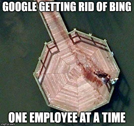 GOOGLE GETTING RID OF BING ONE EMPLOYEE AT A TIME | image tagged in google earth murder | made w/ Imgflip meme maker