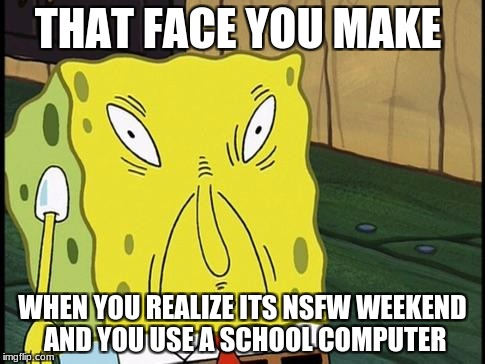 I hate having to use a school's computer. | THAT FACE YOU MAKE WHEN YOU REALIZE ITS NSFW WEEKEND AND YOU USE A SCHOOL COMPUTER | image tagged in nsfw weekend,that face you make,school,computer | made w/ Imgflip meme maker