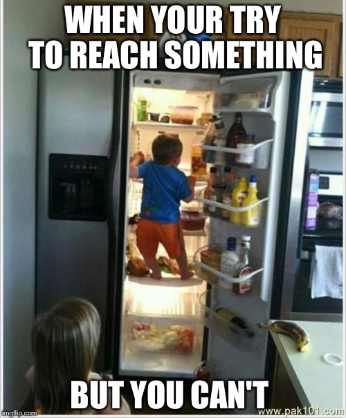 WHEN YOUR TRY TO REACH SOMETHING BUT YOU CAN'T | image tagged in baby getting food from fridge | made w/ Imgflip meme maker