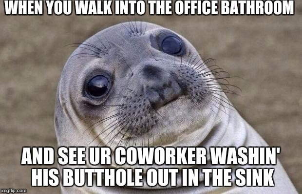 Awkward Moment Sealion Meme | WHEN YOU WALK INTO THE OFFICE BATHROOM AND SEE UR COWORKER WASHIN' HIS BUTTHOLE OUT IN THE SINK | image tagged in memes,awkward moment sealion | made w/ Imgflip meme maker