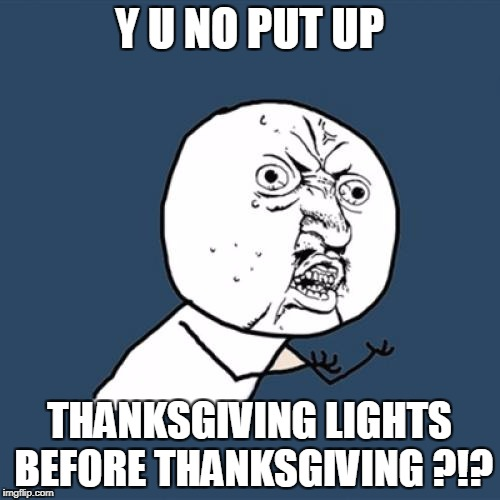 Y U No Meme | Y U NO PUT UP THANKSGIVING LIGHTS BEFORE THANKSGIVING ?!? | image tagged in memes,y u no | made w/ Imgflip meme maker