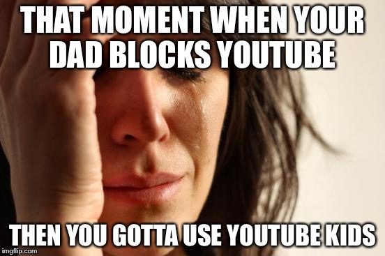 First World Problems Meme | THAT MOMENT WHEN YOUR DAD BLOCKS YOUTUBE THEN YOU GOTTA USE YOUTUBE KIDS | image tagged in memes,first world problems | made w/ Imgflip meme maker