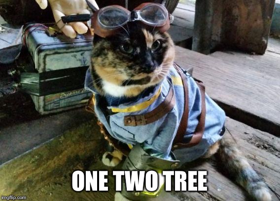 Fallout RayCat | ONE TWO TREE | image tagged in fallout raycat | made w/ Imgflip meme maker