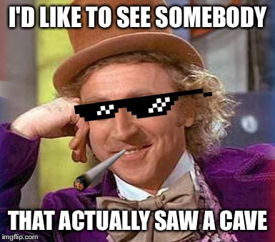 Swag Wonka | I'D LIKE TO SEE SOMEBODY THAT ACTUALLY SAW A CAVE | image tagged in swag wonka | made w/ Imgflip meme maker