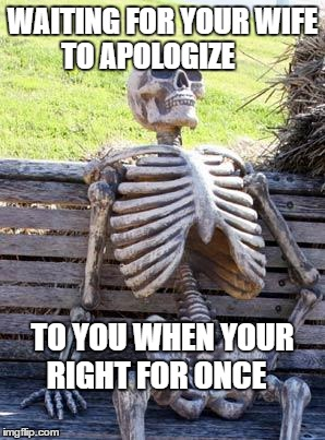 Apology | WAITING FOR YOUR WIFE TO APOLOGIZE TO YOU WHEN YOUR RIGHT FOR ONCE | image tagged in memes,waiting skeleton | made w/ Imgflip meme maker