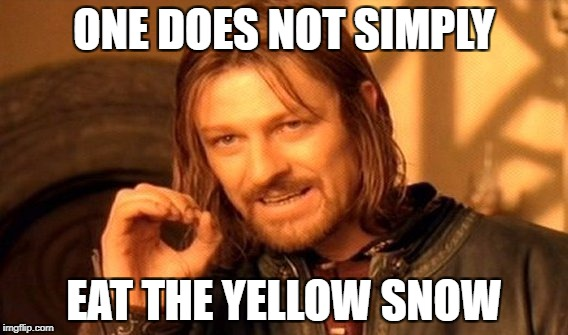 One Does Not Simply Meme | ONE DOES NOT SIMPLY EAT THE YELLOW SNOW | image tagged in memes,one does not simply | made w/ Imgflip meme maker