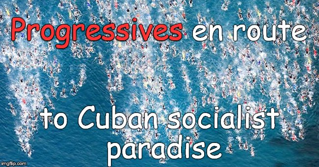 Swimmers in flight | Progressives en route to Cuban socialist paradise Progressives | image tagged in swimmers in flight | made w/ Imgflip meme maker