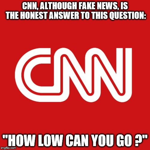 "Something CNN Answers Truthfully | CNN, ALTHOUGH FAKE NEWS, IS THE HONEST ANSWER TO THIS QUESTION: ""HOW LOW CAN YOU GO ?"" 