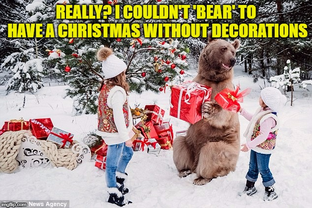 REALLY? I COULDN'T 'BEAR' TO HAVE A CHRISTMAS WITHOUT DECORATIONS | made w/ Imgflip meme maker