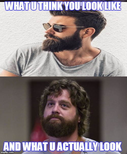 WHAT U THINK YOU LOOK LIKE AND WHAT U ACTUALLY LOOK | image tagged in no shave november | made w/ Imgflip meme maker