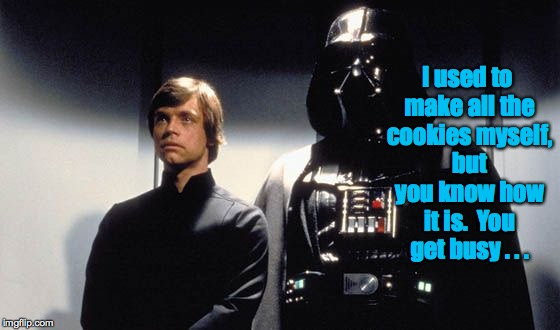 Elevator chit chat. | I used to make all the cookies myself, but you know how it is.  You get busy . . . | image tagged in happy father's day,memes,darth vader luke skywalker,elevator chit chat | made w/ Imgflip meme maker