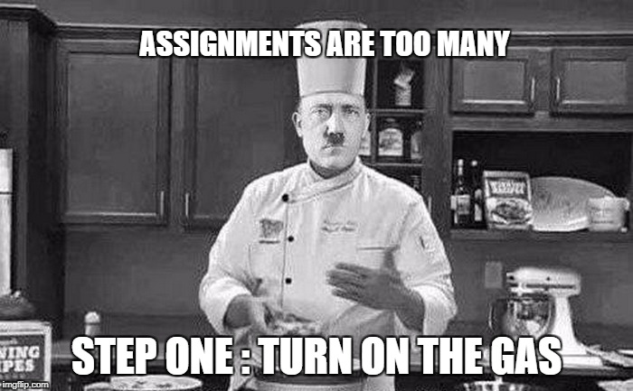 ASSIGNMENTS ARE TOO MANY STEP ONE : TURN ON THE GAS | image tagged in hitler chef | made w/ Imgflip meme maker