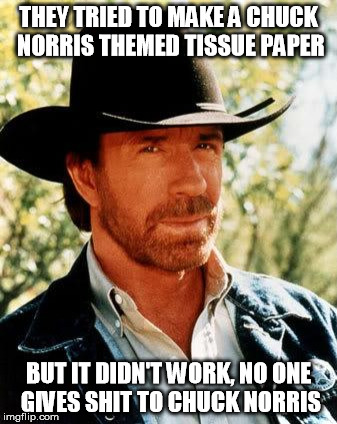 Chuck Norris Meme | THEY TRIED TO MAKE A CHUCK NORRIS THEMED TISSUE PAPER BUT IT DIDN'T WORK, NO ONE GIVES SHIT TO CHUCK NORRIS | image tagged in memes,chuck norris | made w/ Imgflip meme maker
