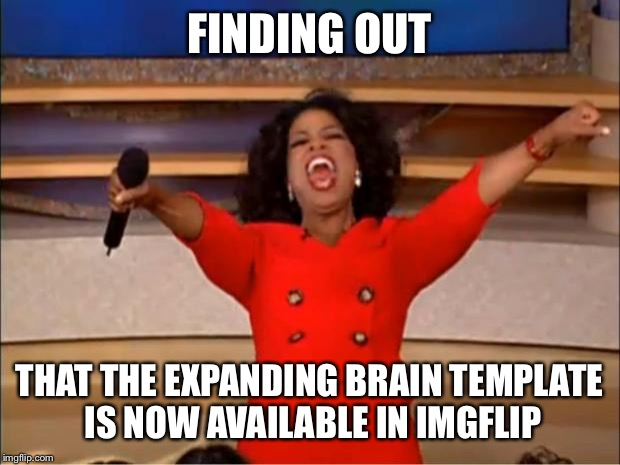 Oprah You Get A Meme | FINDING OUT THAT THE EXPANDING BRAIN TEMPLATE IS NOW AVAILABLE IN IMGFLIP | image tagged in memes,oprah you get a | made w/ Imgflip meme maker