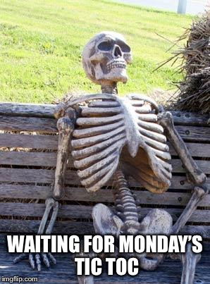 Waiting Skeleton Meme | WAITING FOR MONDAY'S TIC TOC | image tagged in memes,waiting skeleton | made w/ Imgflip meme maker