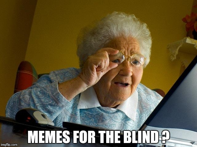 Grandma Finds The Internet Meme | MEMES FOR THE BLIND ? | image tagged in memes,grandma finds the internet | made w/ Imgflip meme maker