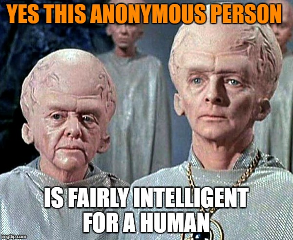 YES THIS ANONYMOUS PERSON IS FAIRLY INTELLIGENT FOR A HUMAN | made w/ Imgflip meme maker