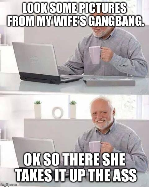 Hide the Pain Harold Meme | LOOK SOME PICTURES FROM MY WIFE'S GANGBANG. OK SO THERE SHE TAKES IT UP THE ASS | image tagged in memes,hide the pain harold | made w/ Imgflip meme maker