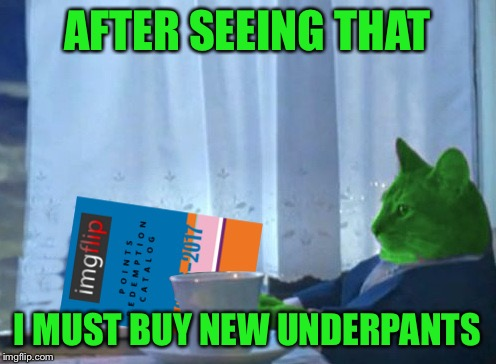 RayCat redeeming points | AFTER SEEING THAT I MUST BUY NEW UNDERPANTS | image tagged in raycat redeeming points | made w/ Imgflip meme maker
