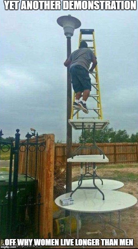 YET ANOTHER DEMONSTRATION OFF WHY WOMEN LIVE LONGER THAN MEN | image tagged in ladder | made w/ Imgflip meme maker