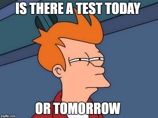 Futurama Fry Meme | IS THERE A TEST TODAY OR TOMORROW | image tagged in memes,futurama fry | made w/ Imgflip meme maker