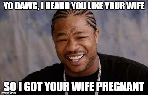 Yo Dawg Heard You Meme | YO DAWG, I HEARD YOU LIKE YOUR WIFE SO I GOT YOUR WIFE PREGNANT | image tagged in memes,yo dawg heard you | made w/ Imgflip meme maker