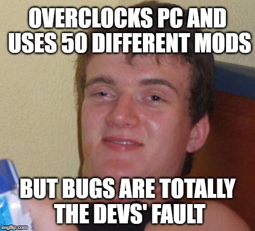 10 Guy Hardcore Gamer | OVERCLOCKS PC AND USES 50 DIFFERENT MODS BUT BUGS ARE TOTALLY THE DEVS' FAULT | image tagged in memes,10 guy,bugs,mods,pc gaming,hacker | made w/ Imgflip meme maker