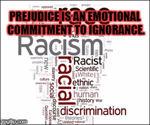 PREJUDICE IS AN EMOTIONAL COMMITMENT TO IGNORANCE. | image tagged in racism,no racism,impeach trump,white privilege,white supremacy | made w/ Imgflip meme maker