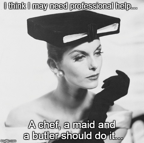 May need help... | I think I may need professional help... A chef, a maid and a butler should do it... | image tagged in professional,help,chef,maid,butler | made w/ Imgflip meme maker